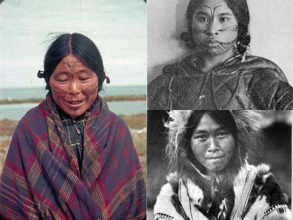Mujeres Inuit con tatuajes en la cara