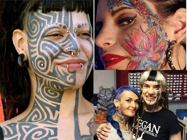 Mujeres con toda la cara tatuada