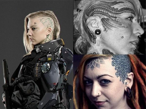 Tatuajes en la cara y cráneo para mujer