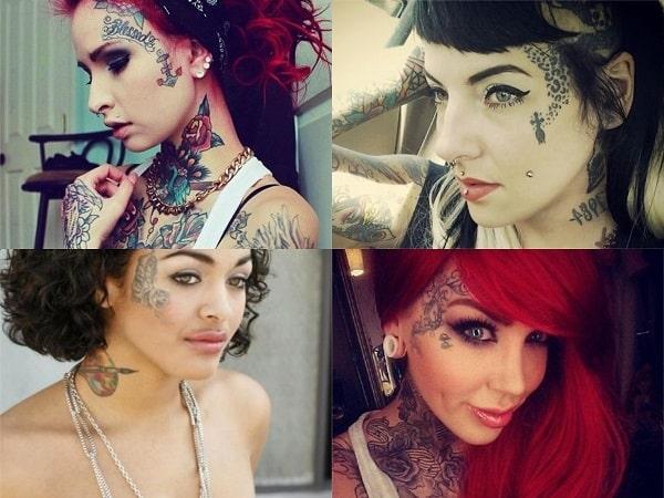 Tatuajes en la cara para mujer, diseños en el lateral