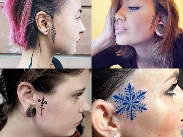 Tatuajes en la cara para mujer, diseños al lado de la oreja
