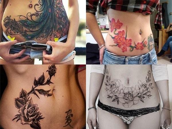 Tatuajes en el abdomen para mujer con flores