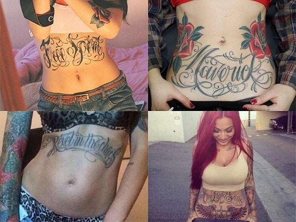 Tatuajes en el abdomen para mujer con palabras