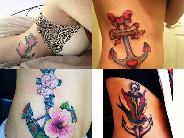 Tatuajes de anclas para mujer en el costado