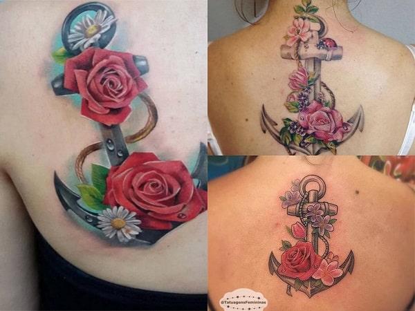 Tatuajes de anclas para mujer en la espalda