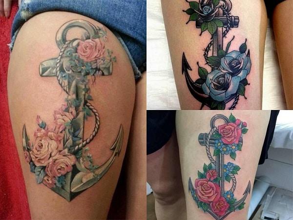Tatuajes de anclas para mujer en el muslo