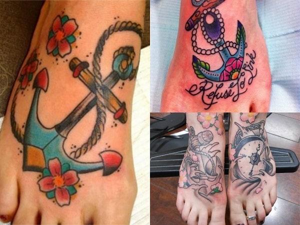 Tatuajes de anclas para mujer en el pie