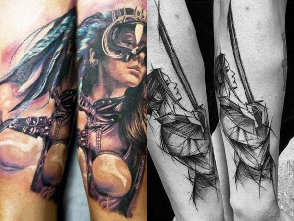 Tatuajes mujeres guerreras en el brazo 2
