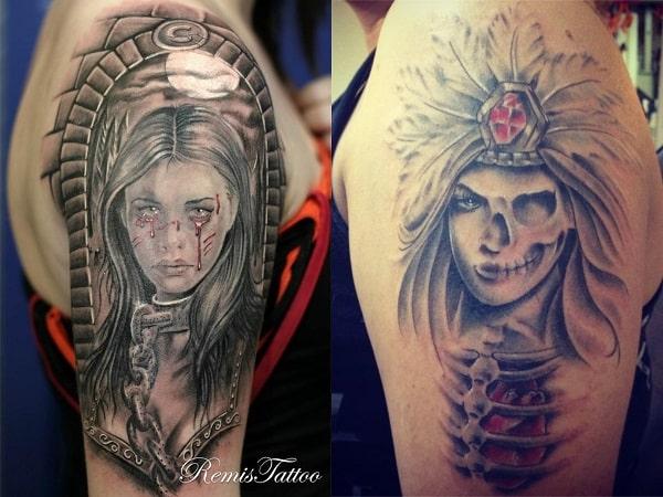 Tatuajes mujeres guerreras en el brazo