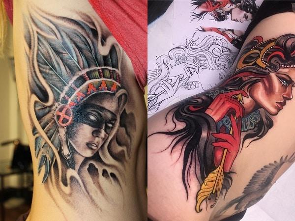 Tatuajes mujeres guerreras en el costado