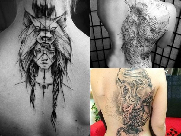 Tatuajes mujeres guerreras en la espalda