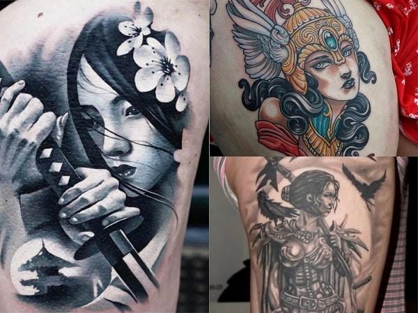 Tatuajes mujeres guerreras en el muslo 2