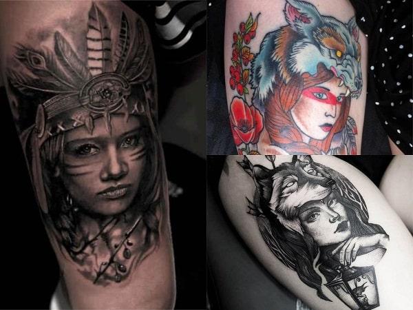 Tatuajes mujeres guerreras en el muslo 3
