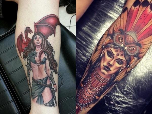 Tatuajes mujeres guerreras en la pierna