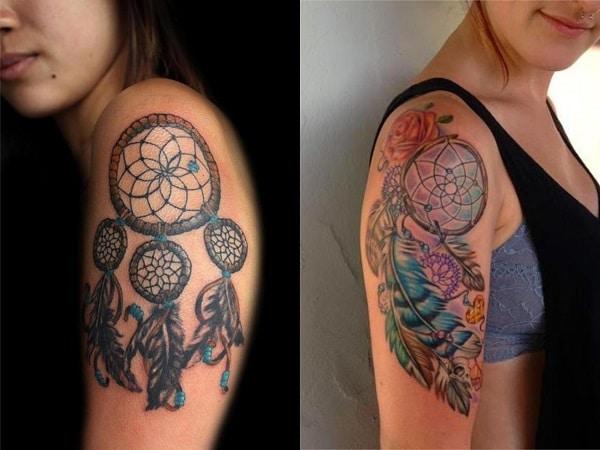 Tatuajes mujer atrapasueños en el brazo