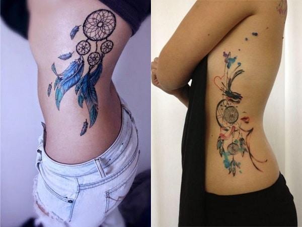 Tatuajes mujer atrapasueños en el costado 2