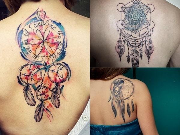 Tatuajes mujer atrapasueños en la espalda 2