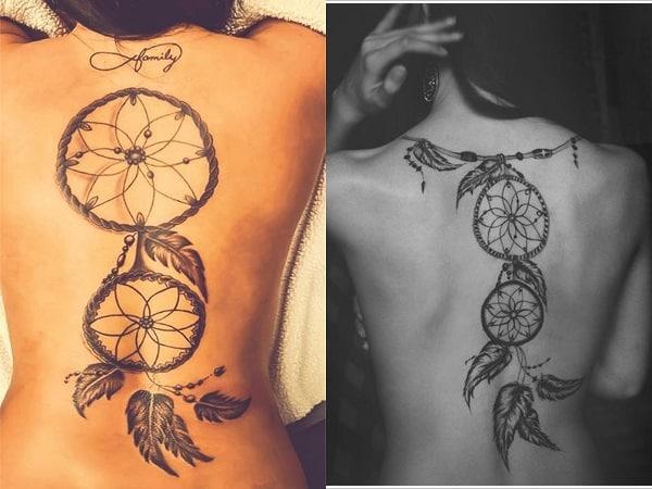 Tatuajes mujer atrapasueños en la espalda