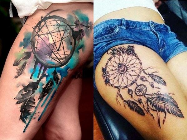 Tatuajes mujer atrapasueños en la pierna 2