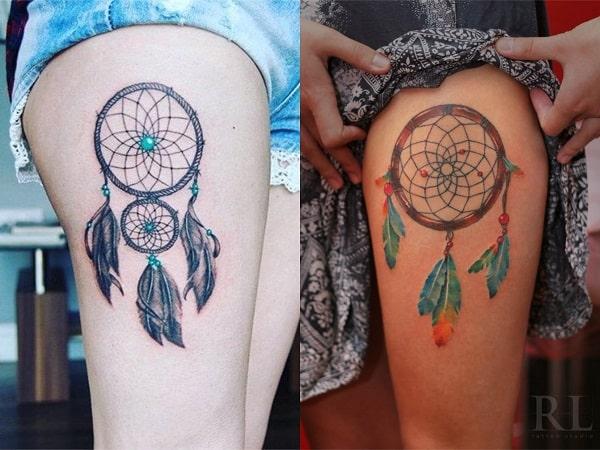 Tatuajes mujer atrapasueños en la pierna 3
