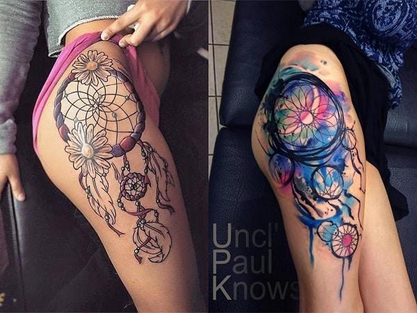 Tatuajes mujer atrapasueños en la pierna