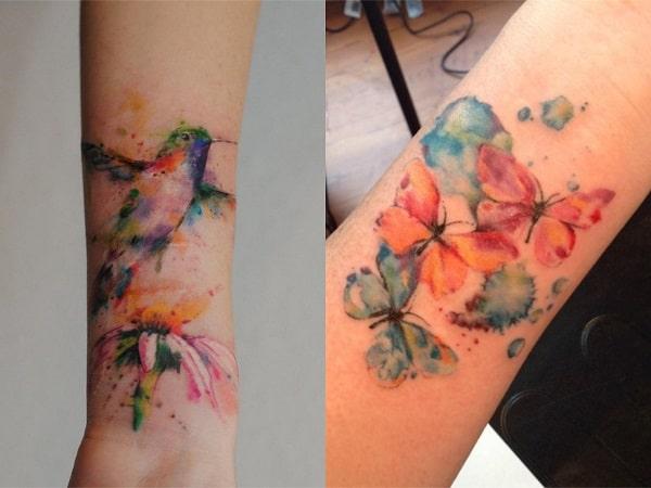 Tatuajes acuarela mujer antebrazo 3