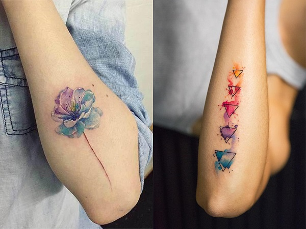 Tatuajes acuarela mujer antebrazo