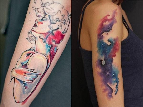 Tatuajes acuarela mujer brazo