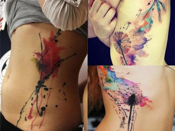 Tatuajes acuarela mujer costado 2