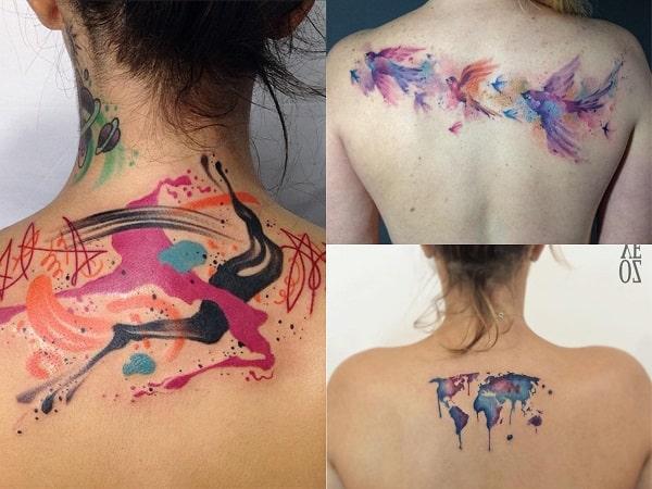 Tatuajes acuarela mujer espalda 2