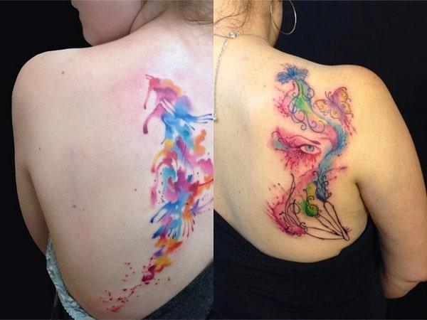 Tatuajes acuarela mujer espalda