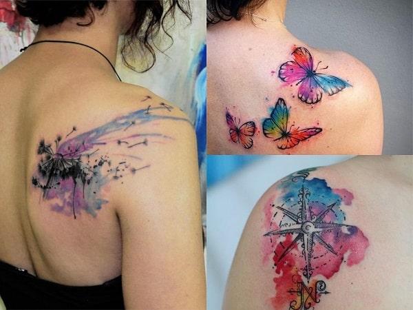 Tatuajes acuarela mujer hombro
