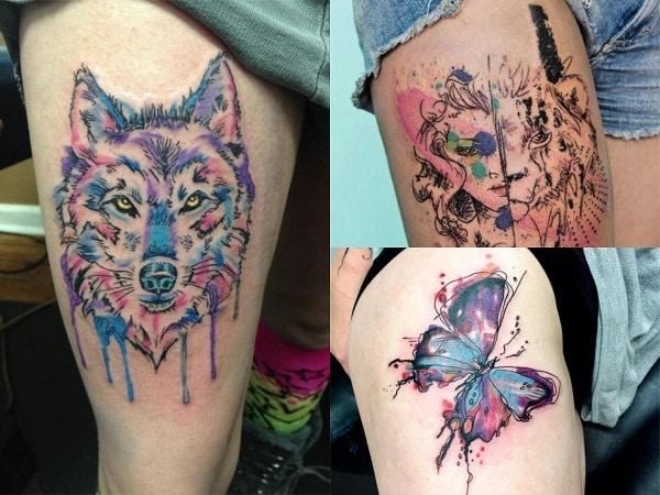 Tatuajes Acuarela Mujer Muslo Tatuajes Para Mujeres