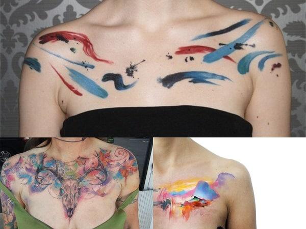 Tatuajes acuarela mujer pecho