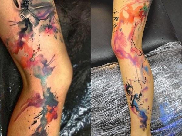 Tatuajes acuarela mujer pierna