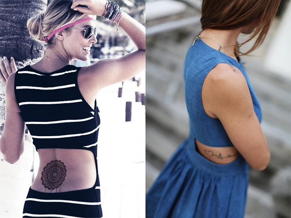 Tatuajes lumbares con vestido