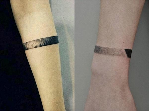 Tatuajes brazaletes punteados para mujer