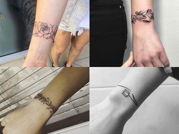 Tatuajes brazaletes flores para mujer