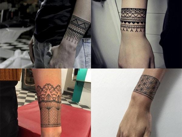 Tatuajes brazaletes geométrico para mujer