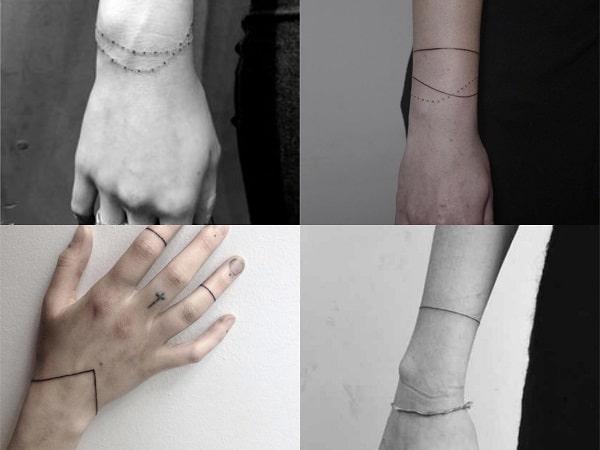 Tatuajes brazaletes sencillos para mujer