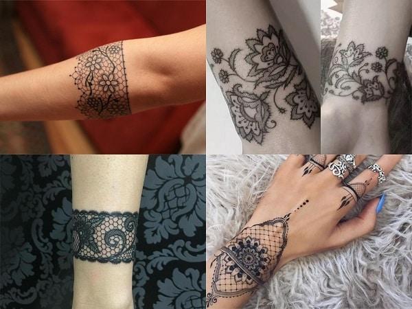 Tatuajes brazaletes encaje para mujer