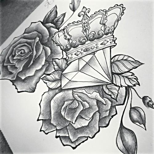 Dibujos a lápiz para tatuajes, diamante y rosas