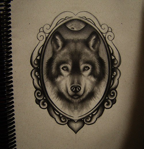Dibujos a lápiz para tatuajes, lobo