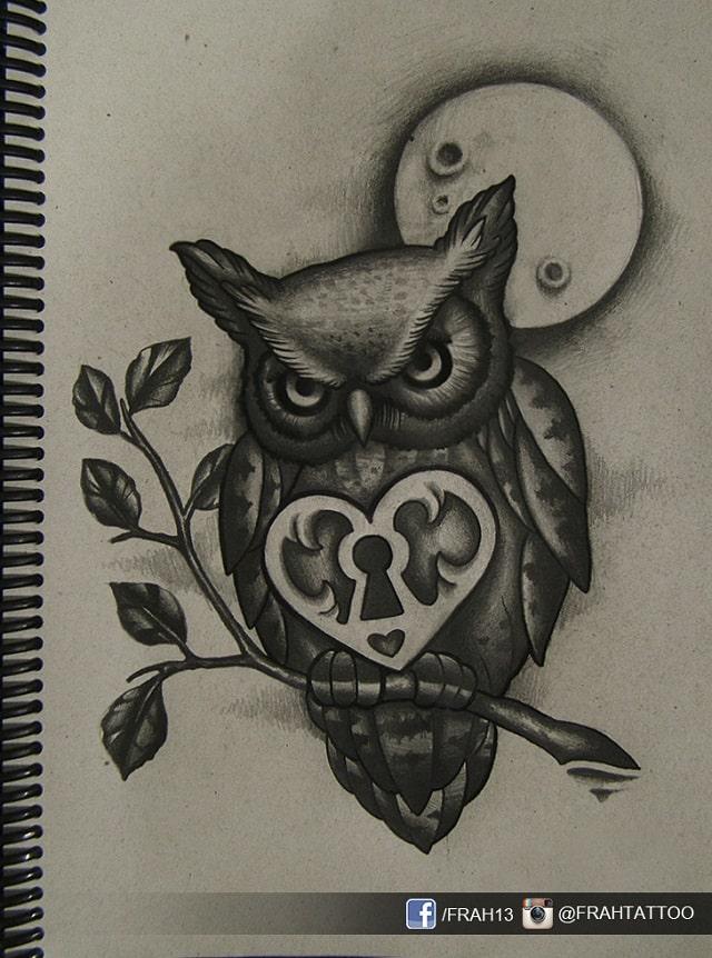 Dibujos a lápiz para tatuajes, búho