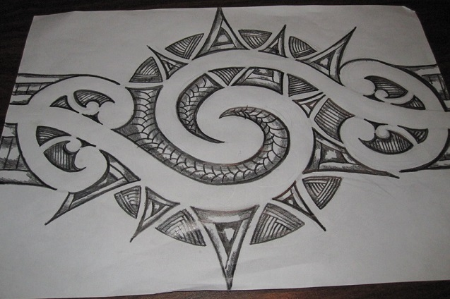 Dibujos a lápiz para tatuajes, tribal maorí