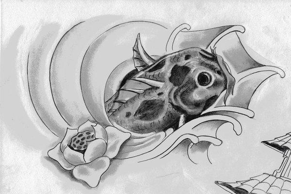 Dibujos a lápiz para tatuajes, pez koi