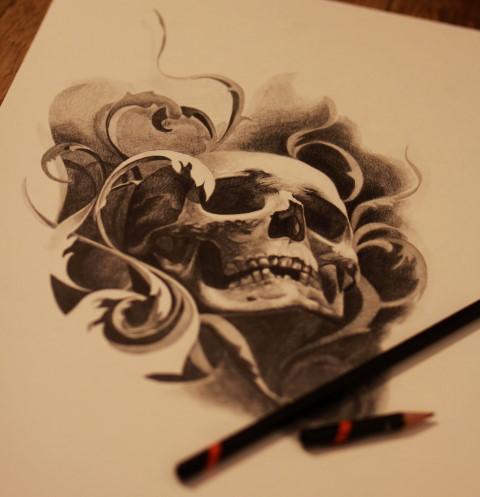 Dibujos a lápiz para tatuajes, calavera