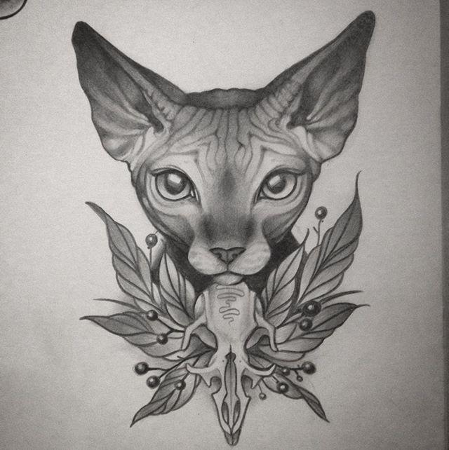 Dibujos a lápiz para tatuajes, gato