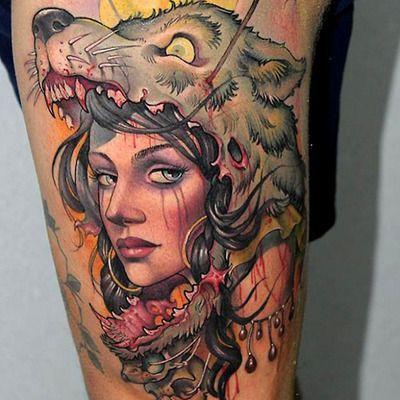Tatuaje mujer cabeza lobo 2