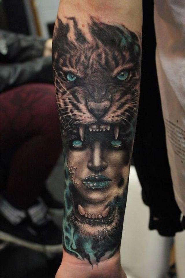 Tatuaje mujer cabeza de tigre 3